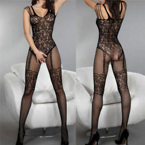 Sexy Lingerie Body Stocking Open Crotch Fishnet Lace Body Suit Black Plus Size