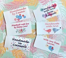 Personalised craft labels. Handmade Labels. Sew in fabric clothing labels tags.