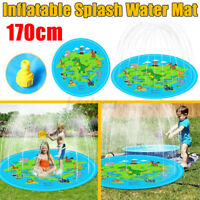 Sprinkler Water Play Mat Inflatable Kids Baby Floating Round Carpet Pool  q