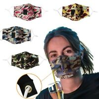 Cotton Face Mask with Straw Hole Washable Reusable Handmade Camouflage Adult USA