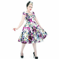Hearts and Roses London Pretty Purple Floral 1950s Vintage Keyhole Party Dress