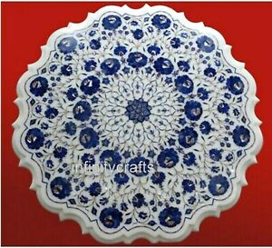 24 Inches White Marble Inlay Table Top Lapis Lazuli Stone Art Royal Coffee Table