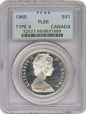 S$1 Canada 1965 graded by PCGS PL66 Type 4