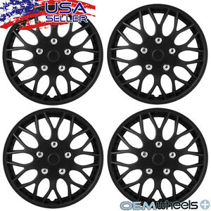 """4 New OEM Matte Black 15"""" Hubcaps Fits Acura FWD SH-AWD Center Wheel Covers Set"""
