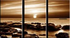 SPLIT CANVAS SEA ART 3 PANEL BROWN ROCKY SEASCAPE 36x20