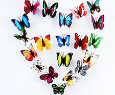 100x Multicolr Artificial Magnet PVC Butterflies for Weeding Birthday Home Decor