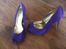 SIZE UK 4 PURPLE HIGH HEELS WOMENS PEEP TOE Shoes Slip On Office Work LADIES
