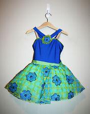 Girls REVOLUTION DANCEWEAR Green Royal Blue Floral Dance Costume Dress Small SC