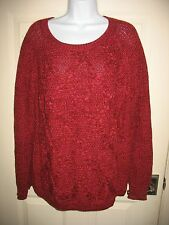 FADED GLORY SWEATER Sz XL Burgundy Diamond Pattern Crewneck Long Sleeve Womens