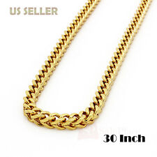 "30"" Mens Hip Hop 8mm Gold Stainless Steel Franco Cuban Box Chain Link Necklace"