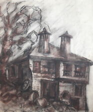 Impressionist pastel drawing landscape house