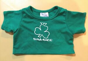 "Build-A-Bear ST PATRICK'S GREEN TEE SHIRT ""YOU SHAM-ROCK"" Teddy Clothes"