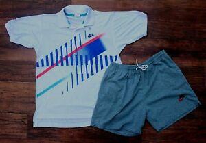 Original Vintage Nike Agassi Challenge Court Polo Shirt M USA Gray Shorts 90s