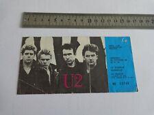 U2 - BILLET DE CONCERT  - TICKET ORIGINAL COLLECTOR -  RARE -  MARSEILLE 1984