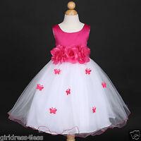 Fuchsia Hot Pink Pageant Formal Wedding Flower Girl Dress 6M 12M 18M 2 4 6 8 10