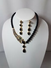 LEOPARD EMBELLISHED NECKLACE & EARRING SET