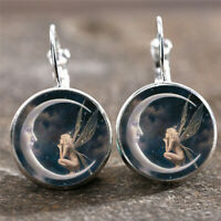 1Pair Fairy on the Moon Silver Gold Trendy Glass cabochon Lever Back Earrings Y1