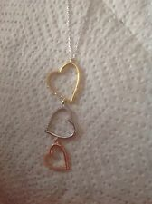 Hearts necklace With Cz Stones sterling silver 925 Multi Coloured