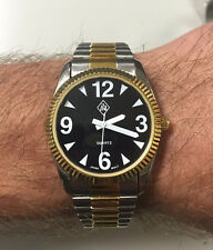 Men's Two Tone Low Vision Watch Black Face Gold & Silver Band, Man's 2 Tone Band