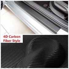 4Pcs 4D Carbon Fiber Black Car Door Sill Plate Scuff Sticker Anti-kick Scratch