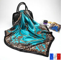 Foulard Carré Mode Pour Femme 90X90cm imprimé soie Satin motif 1