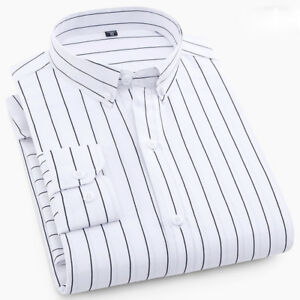 Mens Long Sleeves Dress Shirts Business Formal Striped Multicolor Slim Fit Shirt