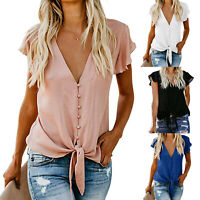 Women V Neck Short Sleeve Chiffon T-Shirt Tops Casual Loose Tie Bow Shirt Blouse