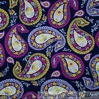 BonEful FABRIC FQ Cotton Quilt Blue Purple Green Paisley Flower Leaf Dot Large L