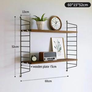 Black / Walnut Nordic Wall String Shelves, Multi-layer Bookshelf, Modern Design.