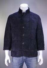* CESARE ATTOLINI * 2016 Navy Blue Quilted Padded Suede Coat Jacket 44/Large