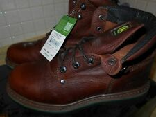 John Deere Work Boots Men's Round Toe Leather Lacer Dark Walnut JD6193