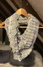 Anthropologie Blue/White Broderie Anglaise, Infinty Scarf/Snood