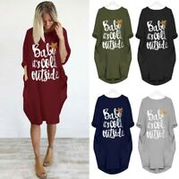 NEW Womens Plus Size Loose Tops Dress Ladies O Neck Long Pocket Christmas Dress