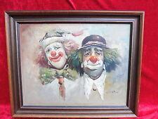 sublime, Ancien Tableau__2 clowns__ Signé