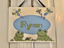 Ryan Name Plaque With Frogs On Stretched Canvas