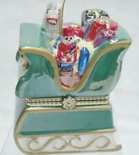 Figural Sleigh Christmas Ornament Music Box Figures Move Plays Joy to the World