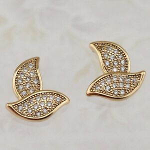 Magic Great White CZ Multi Gems Jewelry Yellow Gold Filled Stud Earrings h2739