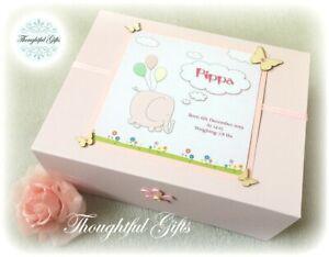 Personalised L White/ Pink New Baby Girls Keepsake Memory Box Christening Gift