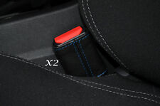 BLUE STITCH 2X FRONT SEAT BELT STALK SKIN COVERS FITS PEUGEOT 308 2013-2015