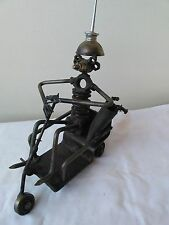 Hand Made Steel Folk Art Golf Cart Metal Man Oil Can Spark Plug UNIQUE