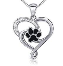S925 Sterling Silver Puppy Dog Cat Pet Paw Print Love Heart Pendant Box Chain 18