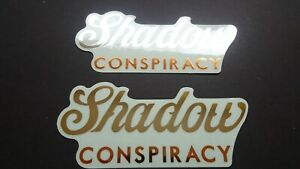 2 AUTHENTIC SHADOW CONSPIRACY BMX BICYCLES SILVER/GOLD STICKERS #20 DECALS