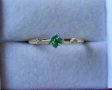 Natural Emerald & Diamond 9ct white gold ring