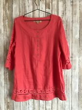 MOTTO Coral Pink Orange Linen Crochet Tunic Top M Medium * RARE!