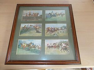 6 Colour Postcard Sized Prints Of Horse Racing By G.D.ROWLANDSON -Glass Framed