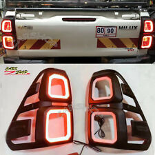 For Toyota Hilux Pickup Revo 15-20 Black ABS LED Car Rear Tail Light Lamp Cover
