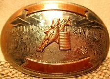 Vintage COMSTOCK SILVERSMITHS COWGIRL BARREL RACING Rodeo Trophy Belt Buckle