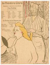 Original Vintage Poster - Lautrec - La Coiffure - Program - Théâtre Libre - 1893