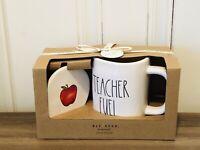 Rae Dunn By Magenta TEACHER FUEL Yellow Interior Mug & Apple Coaster Gift Set