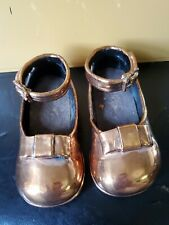 Adorable Little Girls Shoes Brass/Bronze/Copper Vintage Bookends Pair Sculpture